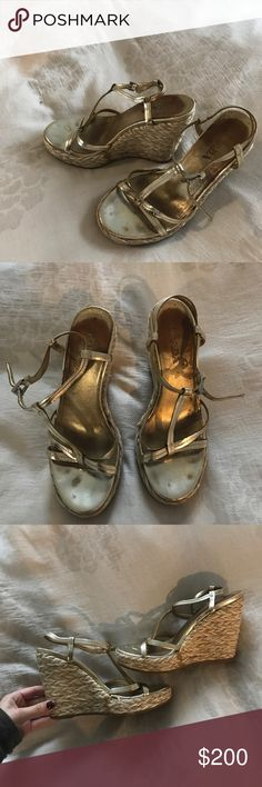 PRADA GOLD SANDALS! Used Prada gold sandals! Size 35 1/2! These are very comfortable as you can see I️ have worn them but still in great condition as the gold straps have no rubbed out! Every time I️ wear them I️ get complimented:) Prada Shoes Espadrilles