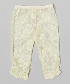 Look at this Ivory Lace Leggings - Infant, Toddler & Girls on #zulily today!