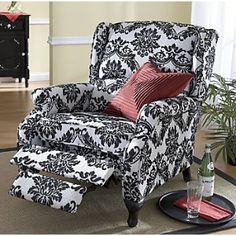 black and white recliner   ... pairing of black and white makes this recliner as glamorous and