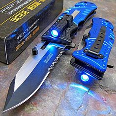 Tac-Force Blue POLICE Assisted Open LED Tactical Rescue Pocket Knife Ace Martial Arts Supply http://www.amazon.com/dp/B00TS9T4OW/ref=cm_sw_r_pi_dp_7w0zwb0JMK7ZN