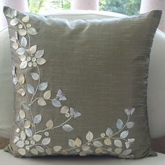 Silver Beauty - Throw Pillow Covers - 16x16 Inches Silk Pillow Cover with Mother of Pearl and Leather Embroidery:
