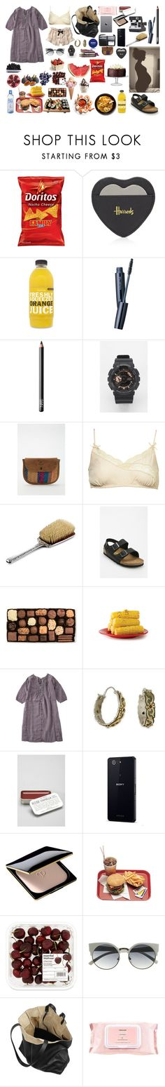 """eating:)"" by harttm ❤ liked on Polyvore featuring Etiquette, Harrods, shu uemura, NARS Cosmetics, Nivea, FRUIT, G-Shock, Will Leather Goods, Anthropologie and Birkenstock"