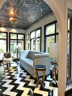 living rooms - Liv Chic interior design custom furniture modern baroque furniture chevron marble floor black and white marble floor tin ceiling modern interior design modern living room grey velvet tufted sofa hilary white #EasyNip