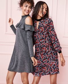 In a cozy knit this cold shoulder dress is the picture of cool