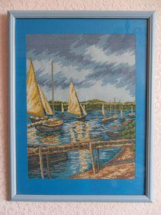 "Cross Stitch by Svetlana Shevchenko (Russia). Работа выполнена по картине  французского художника Густава Кайботта ""Парусные лодки""."
