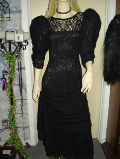 vintage 80s heavy lace dress with puff sleeves, gather at bottom, $55.00  stunning dress, size 12 excellent condition