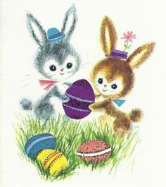Items similar to Vintage Rust Craft EasterGreeting Card - rabbits and eggs on Etsy Easter Greeting Cards, Vintage Greeting Cards, Vintage Postcards, Vintage Images, Vintage Art, Easter Art, Hoppy Easter, Easter Crafts, Vintage Easter