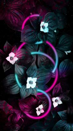 Neon Rings In Flower Foliage - IPhone Wallpapers