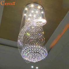 [ $49 OFF ] New Modern Chandelier Led Crystal Lamps Long Pendant Chandelier Lustres De Cristal Kronleuchter,ac110-240V Stair Chandelier
