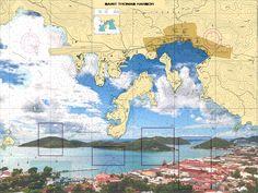 St. Thomas Harbor - Landscape Nautical Chart Sailcloth Print