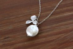 Coin pearl and orchid necklace sterling silver by DelicacyJ, $28.00