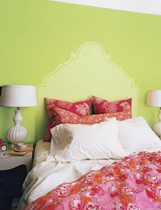 Love the idea of painting a headboard on the wall...