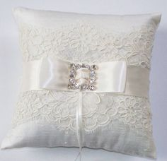 Wedding Ring Pillow in Silk with Alencon Lace, Ivory Ribbon and Rhinestone Detail - The MEGAN Pillow