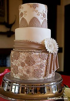 Stunning taupe wedding cake