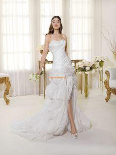 Robe de mariée 2014 sirène tulle au drapée col en coeur