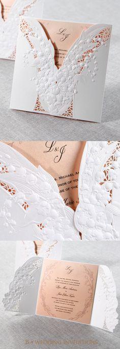 Embossed Flower Laser Cut Wedding Stationery by B Wedding Invitations