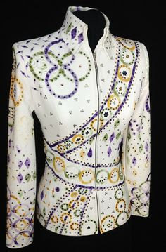 The stripes!! Purple, Green and Gold Showmanship Suit by Dry Creek Designs