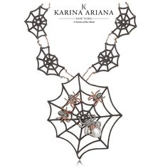 Black Widow Spider Family on Web Necklace Shown with Mother of Pearl and Brown and White CZ Accents KAP-B614 $2070 #KarinaAriana #sterlingsilver #Ember #Passion #fashion #jewelry #necklace #pendant #BlackWidow #spider #Gothic #Halloween