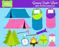 SALE 50% OFF Camping Clipart - Campfire Clipart - Outdoor Clipart - Camping Graphics - Personal and Commerical Use