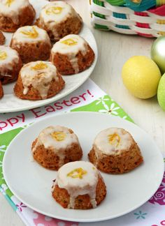 Hodgson Mill Recipe Blog | Gluten Free Mini Carrot Cakes with Lemon Cream Cheese Glaze --A lighter, fresher take on carrot cake, these bite-sized gluten free treats made with coconut and almond flour, and Greek yogurt instead of oil. #Easter #spring #glutenfree