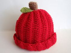 Fall Apple Hat for Babies and Childen All Sizes by stayhomecupcake, $14.00