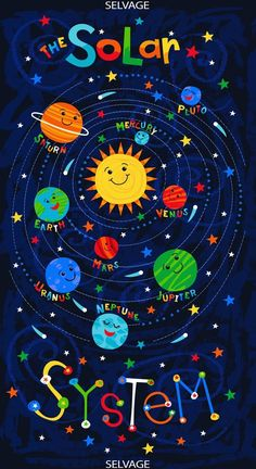 our kids 23 Fabric Panel Timeless Treasures Solar System Solar System Projects For Kids, Solar System Art, Solar System Crafts, Solar System Activities, Bulletins, Novelty Fabric, Space Theme, Space Crafts, Fabric Panels