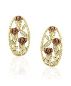 Sterling Silver Two-tone Gold Overlay Rose Earrings