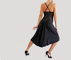 Tango, milonga, black dance dress, with lace inserts, lace back, stretch dress