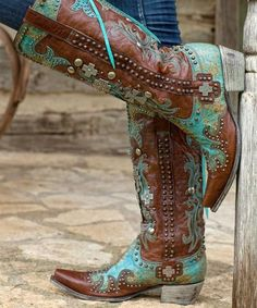 """Words escape me when describing these drop dead gorgeous boots! Take two fabulous designers~Lane boots & Double D Ranchwear to create these """"to die for"""" beauties! Gorgeous turquoise and brown leather"""