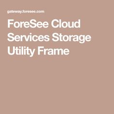 ForeSee Cloud Services Storage Utility Frame