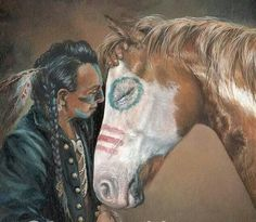 Native American and horse...:  i THINK BY PAINT ON HORSE, IT IS AN APACHE, BUT A LITTLE BLURRY FOR THESE OLD EYES OF MINE ! SORRY :) :)
