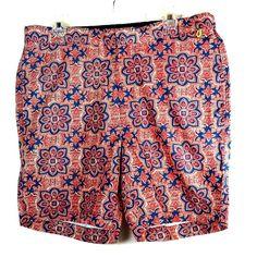 80789840326 Lands End Mens 36 Swim Trunks Red Blue Floral Print Bathing Suit Shorts Key  Loop #