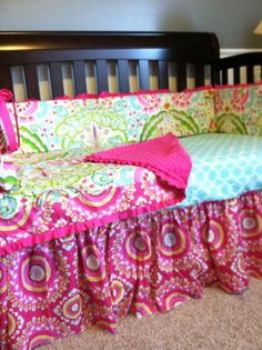 Custom Crib Bedding using Dena Design's by SimplySassynSweet, $320.00 - @April Cochran-Smith Conway Switch the teal to the bed skirt. I want more teal.