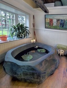 Необычная ванна StoneBath изготовлена из огромного куска цельного природного камня.