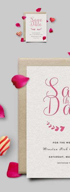 Save The Date Invitation Card #Mockup #PSD #savethedate