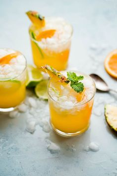 Pineapple punch with ginger beer - tasty, fizzy, and easy to make. If you love citrus-packed cocktails or cocktails with ginger beer, you will love this!