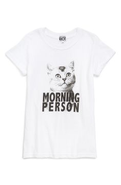 This cute graphic tee is perfect for the cat-loving girl.
