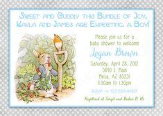 Peter Rabbit Baby Shower Invitation Boy by SassyGraphicsDesigns