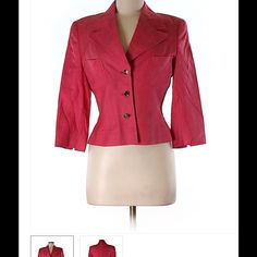 """Silk Blazer by Escada Beautiful tailored Silk & Linen blazer by Escada.  Size 6.  50% Silk, 50% Linen. Dry Clean Only.  Approximate Measurements: Bust: 34"""", Length: 21"""".  This is a pinkish-coral color. Escada Jackets & Coats Blazers"""