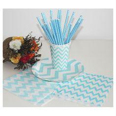 Wholesale Aqua Chevron Stripe Paper Straws