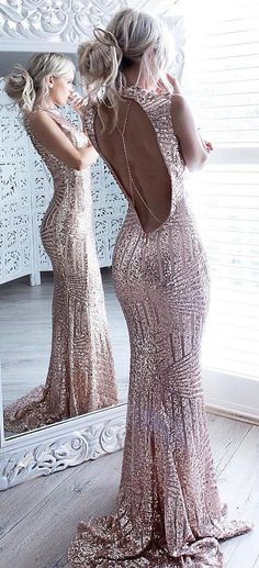 #winter #fashion / Rose Gold Sequin Open Back Maxi