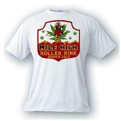 Mile high roller rink denver colorado marijuana pot t-shirt CO skating roller blading