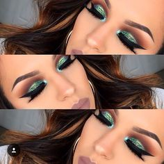 Blue green cut crease