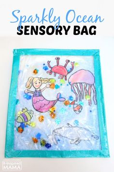 Sparkly Ocean Sensory Bag Craft for Kids at B-Inspired Mama