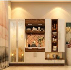 Modern Kitchen Design, Interior Design Kitchen, Modern Interior Design, Pooja Room Door Design, Home Room Design, House Design, Apartment Interior, Home Interior, Crockery Cabinet