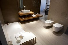 Hatria Happy Hour 9:00 counter top or wall basin with tap hole. Shown with Hatria Fusion wall hung pan & bidet