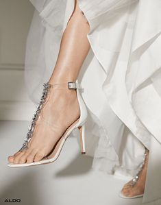 What better way to let your personality shine than with floating effect gems on your feet? Show-stopping see-through strappy heels and glimmery rhinestone hair bands were made for your dreamy gown. Shop the wedding wear collocation at Aldo Shoes.