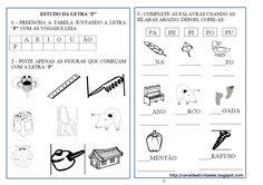 """ATIVIDADES DE ALFABETIZAÇÃO COM A LETRA """"P""""    ATIVIDADES ELABORADAS POR MIM.     PARA RECORTAR E COLAR NO CADERNO. ..."""