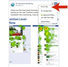 """NEW IN FACEBOOK: Have you been using the new """"Pin to Top"""" feature on your new Fan Page Timeline?    Facebook allows you to pin a photo to the top of your news stream for 7 days now! Great for the important stuff : )  3-23-12"""