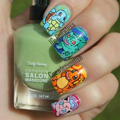 Squirtle, Ivysaur, Charmander and Jigglypuff nails!